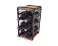 Wijnkastje hout metaal voor 6 flessen